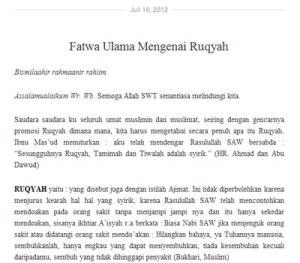 Fatwa Ulama Versi Ruqyah Watch