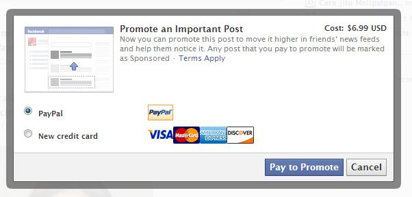 Status Facebook berbayar
