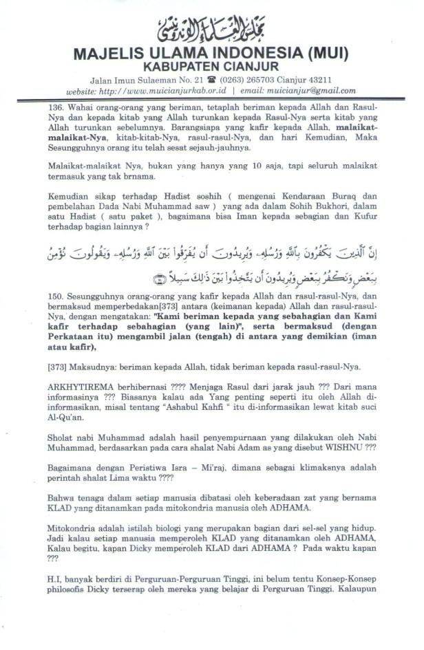 """Lampiran """"Koreksi terhadap Hikmatul Iman"""" Hal 5"""