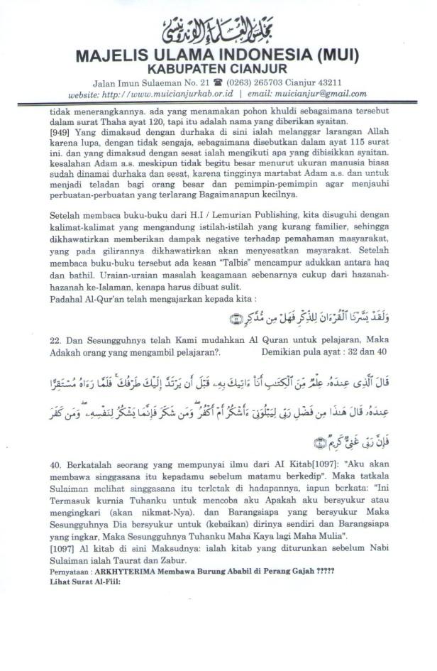 """Lampiran """"Koreksi terhadap Hikmatul Iman"""" Hal 7"""