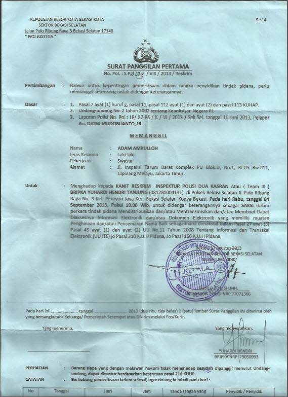Somasi Senkom Mitra Polisi terhadap Adam Amrullah, Sekjen Form Ruju' Ilal Haq.