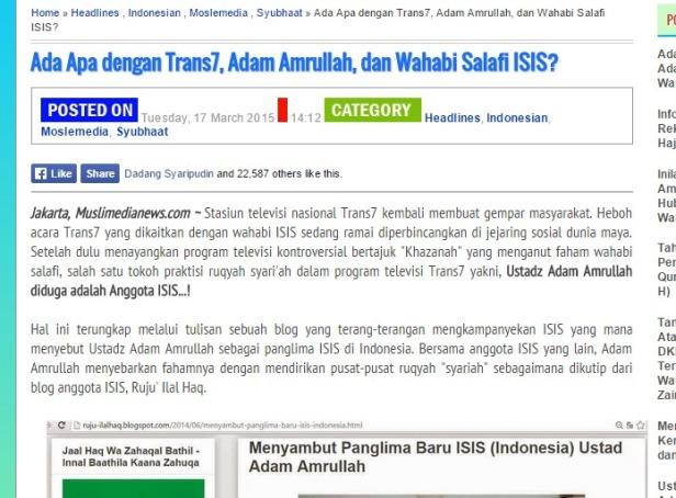 Berita palsu tentang Adam Amrullah. Sumber: Muslimmedia News